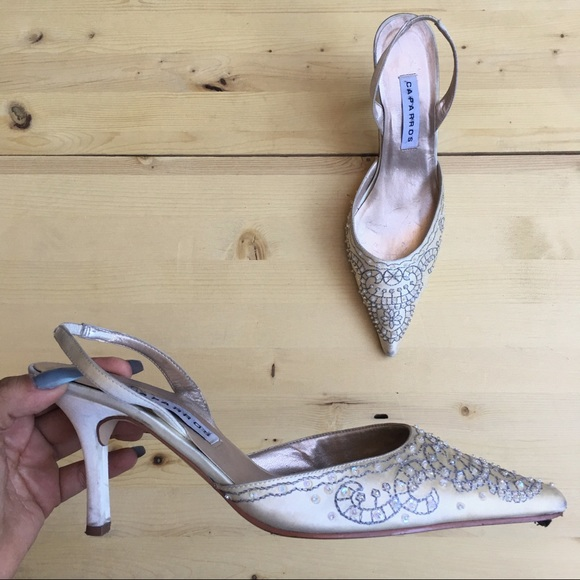 Vintage Shoes - Vintage Beaded Sling Back Pointy Top Mules